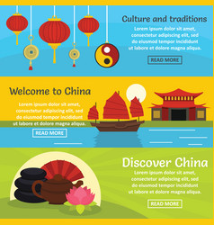 china travel banner horizontal set flat style vector image
