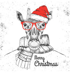 christmas hipster fashion animal giraffe vector image