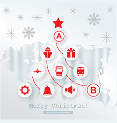 Christmas logistics card schematic christmas tree vector
