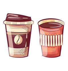 Coffee cup made plastic or paper takeout drink vector