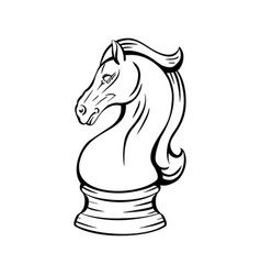 Contour knight chess horse proud mustang mascot vector