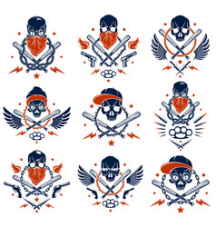 Criminal tattoo gang emblem or logo vector