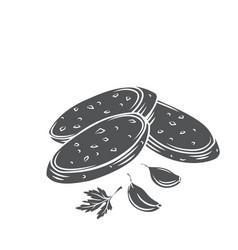 crunchy garlic bread with garlic cloves vector image