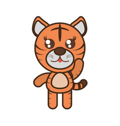 Cute tiger toy kawaii image vector