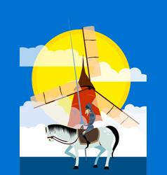 Don quixote and windmill literature characters f vector