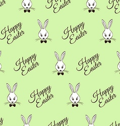 Easter Seamless Pattern With Rabbits And Greeting vector image