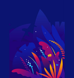 exotic tropical plants in night banner template vector image