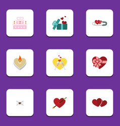 Flat icon amour set of heart present patisserie vector