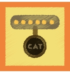 Flat shading style icon cat collar vector