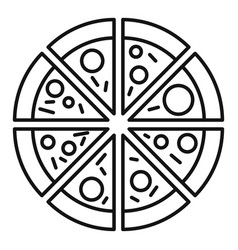 Fruit sausage pizza icon outline style vector