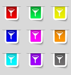 Funnel icon sign Set of multicolored modern labels vector