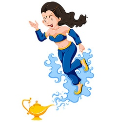 Genie in blue outfit comes out of lamp vector