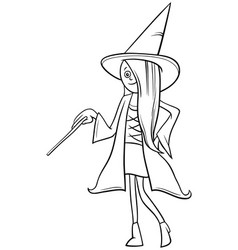 girl in witch costume at halloween party coloring vector image