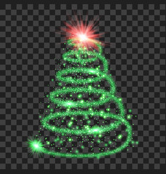 green particle wave in form of christmas tree vector image