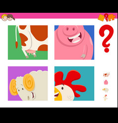 Guess cartoon farm animals game for children vector