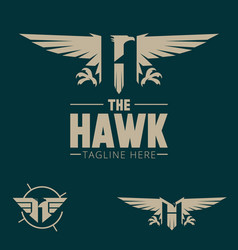 H logo letter based hawk bird theme vector