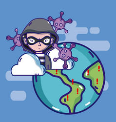 Hacker around the world vector
