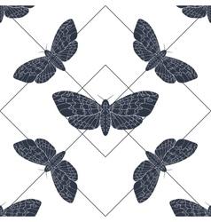 Hand drawn hawk moth seamless pattern vector