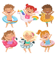 Happy childrens dressed in rubber circles playing vector