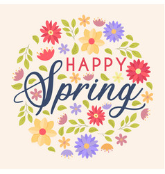 happy spring colorful floral greeting card vector image