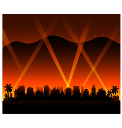 hollywood california sunset city background vector image