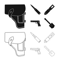 Holster cartridge air bomb pistol military and vector