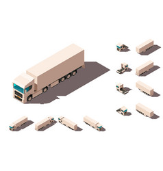 isometric 3d set big truck with box for delivery vector image