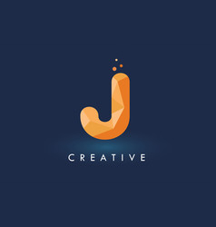 J letter with origami triangles logo creative vector