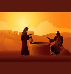 Jesus talking with samaritan woman at jacob s vector