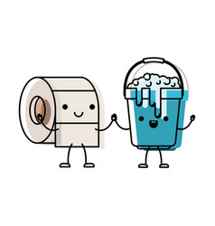 Kawaii cartoon toilet paper roll and bucket with vector