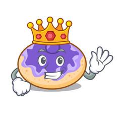 King donut blueberry mascot cartoon vector