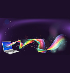 Laptop rainbow background vector