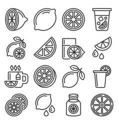 lemon and lime icons set on white background line vector image