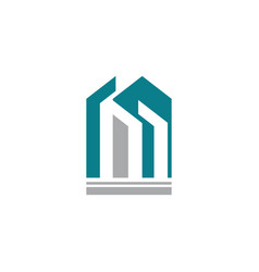 letter m construction buiulding logo vector image