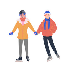 Lgbt couple skating on ice rink vector