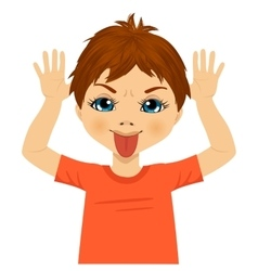 Little boy making mocking expression with hands vector