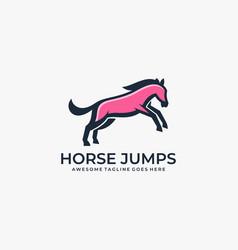Logo horse jump mascot cartoon vector