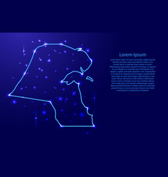 Map kuwait from the contours network blue vector