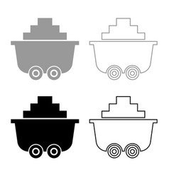 Mine cart or trolley of coal icon set grey black vector