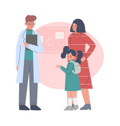 mom and her daughter visiting doctor male vector image