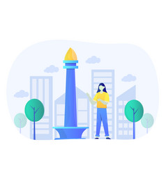 National monument indonesia flat design vector