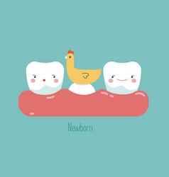 Newborn tooth concept of dental vector