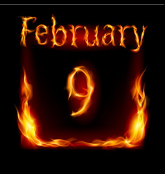 ninth february in calendar of fire icon on black vector image