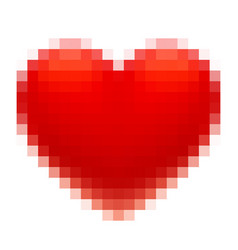 Pixel art red heart isolated on white background vector