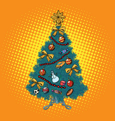 Pop art christmas tree with decorations vector