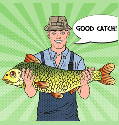 pop art fisherman with big fish good catch vector image