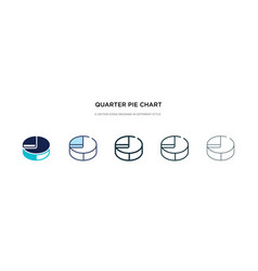 Quarter pie chart icon in different style two vector