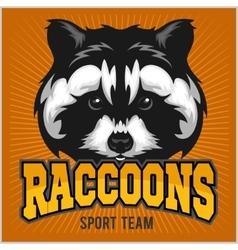 Raccoon head - sport emblem vector image