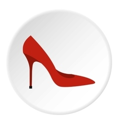 Red woman shoe icon flat style vector image