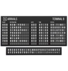 Scoreboard flip font arrival airport signs board vector